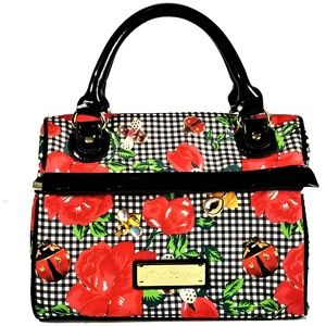 Betsey Johnson Purse Lunch Tote Ladybug Red Floral